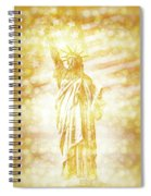 New York City Statue Of Liberty With American Banner - Golden Painting Spiral Notebook