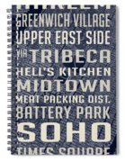 New York City Vintage Subway Stops With Map Spiral Notebook
