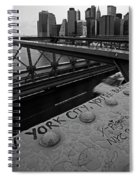 New York City You're Beautiful Brooklyn Bridge Ny Black And White Spiral Notebook