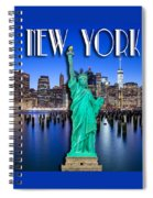 New York Classic Skyline With Statue Of Liberty Spiral Notebook