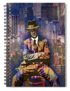 New York Man Seated City Background 1 Spiral Notebook