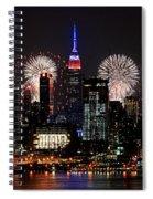 New York Skyline And Fireworks Spiral Notebook