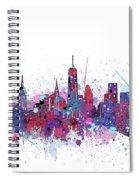 New York Skyline Color Splatter Spiral Notebook