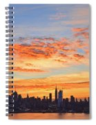 New York Skyline Sunrise Clouds And Color Spiral Notebook