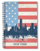 New York Skyline Usa Flag 4 Spiral Notebook