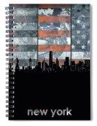 New York Skyline Usa Flag 5 Spiral Notebook