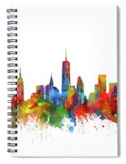 New York  Skyline Watercolor Spiral Notebook