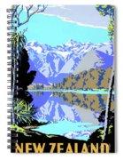 New Zealand Lake Matheson Vintage Travel Poster Spiral Notebook