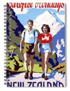 New Zealand Vintage Travel Poster Restored Spiral Notebook