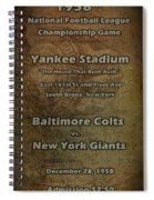Nfl Championship Game 1958 Spiral Notebook