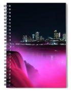 Niagara Falls At Night - Pink Spiral Notebook