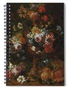Nicolaes Van Veerendael Antwerp 1640 - 1691 Still Life Of Roses, Carnations And Other Flowers Spiral Notebook