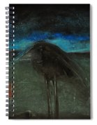 Night Bird With Red Square Spiral Notebook
