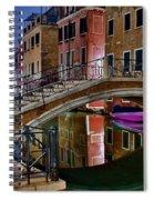Night Bridge In Venice Spiral Notebook