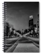 Night Falls On The City - Philadelphia - Black And White Spiral Notebook