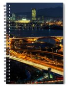 Night Traffic Over Han River In Seoul Spiral Notebook