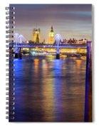 Night View Of Hungerford Bridge And Golden Jubilee Bridges London Spiral Notebook