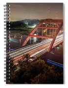 Nighttime Boats Cruise Up And Down The Loop 360 Bridge, A Boaters Paradise With Activities That Include Boating, Fishing, Swimming And Picnicking - Stock Image Spiral Notebook