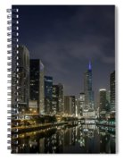 Nighttime Chicago River And Skyline View Spiral Notebook