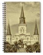 Nola - Jackson Square In Sepia Spiral Notebook