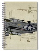 North American F-82b Twin Mustang - Profile Art Spiral Notebook