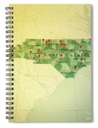 North Carolina Map Square Cities Straight Pin Vintage Spiral Notebook