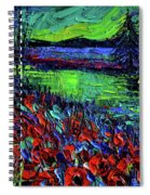 Northern Lights Embracing Poppies Spiral Notebook