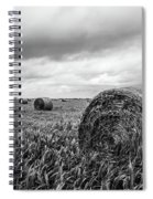 Nostalgia - Hay Bales In Field In Black And White Spiral Notebook