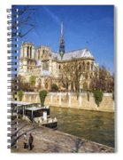 Notre Dame And The Seine Painterly Spiral Notebook