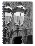 Notre Dame Street Lights Paris France Black And White Spiral Notebook