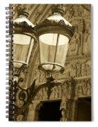 Notre Dame Street Lights Paris France Sepia Spiral Notebook