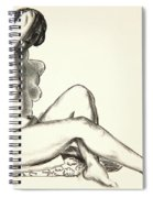 Nude Study, Girl Sitting On A Flowered Cushion Spiral Notebook