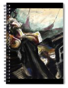 Nude With Chaps On Harley Spiral Notebook