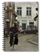 Nun On A Bicycle In Bruges Spiral Notebook