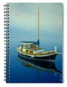 Coastal Wall Art, Ocean Blue, Fishing Boat Paintings Spiral Notebook