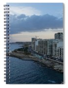 Offshore Rainstorm - Sliema's Famous Promenade Waking Up Spiral Notebook
