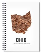 Ohio Map Art Abstract In Brown Spiral Notebook