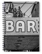 Old Bar Sign Livingston Montana Black And White Spiral Notebook