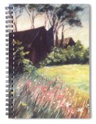 Old Barn And Wildflowers Spiral Notebook