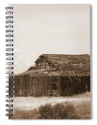 Old Barn With Mount Hood In Sepia Spiral Notebook