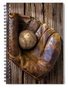 Old Baseball Mitt And Ball Spiral Notebook