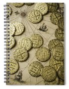 Old Coins On Old Map Spiral Notebook