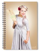 Old Fashion Woman Spring Cleaning With Broom Spiral Notebook