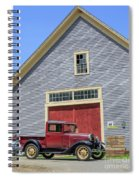 Old Ford Model A Pickup In Front Barn Spiral Notebook