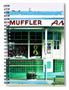 Old Gas Station Green Tile Spiral Notebook