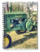 Old Green Vintage Tractor Watercolor Spiral Notebook