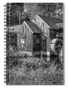 Old Grist Mill In Vermont Black And White Spiral Notebook