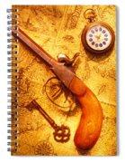 Old Gun On Old Map Spiral Notebook