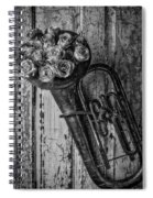 Old Horn And Roses On Door Black And White Spiral Notebook