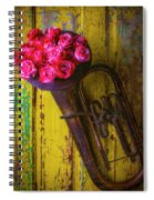 Old Horn And Roses On Door Spiral Notebook